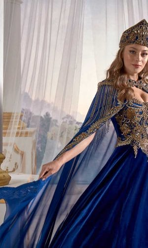 Dark Blue Panels Velvet Tulle Cape Cut Out Detail Ottoman Sultan Caftan Dresses 1 300x500 - Home
