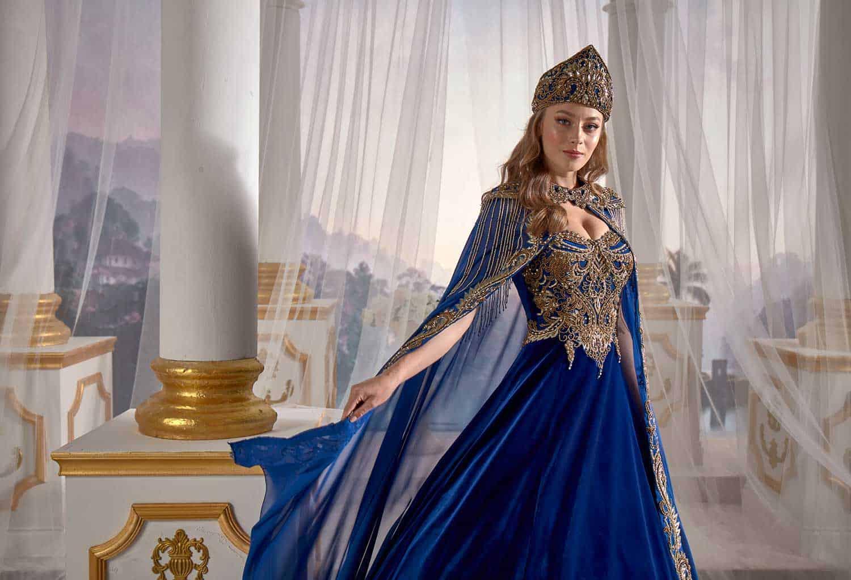 Navy Blue Panels Velvet Tulle Cape Cut Out Detail Ottoman Sultan Caftan  Dresses