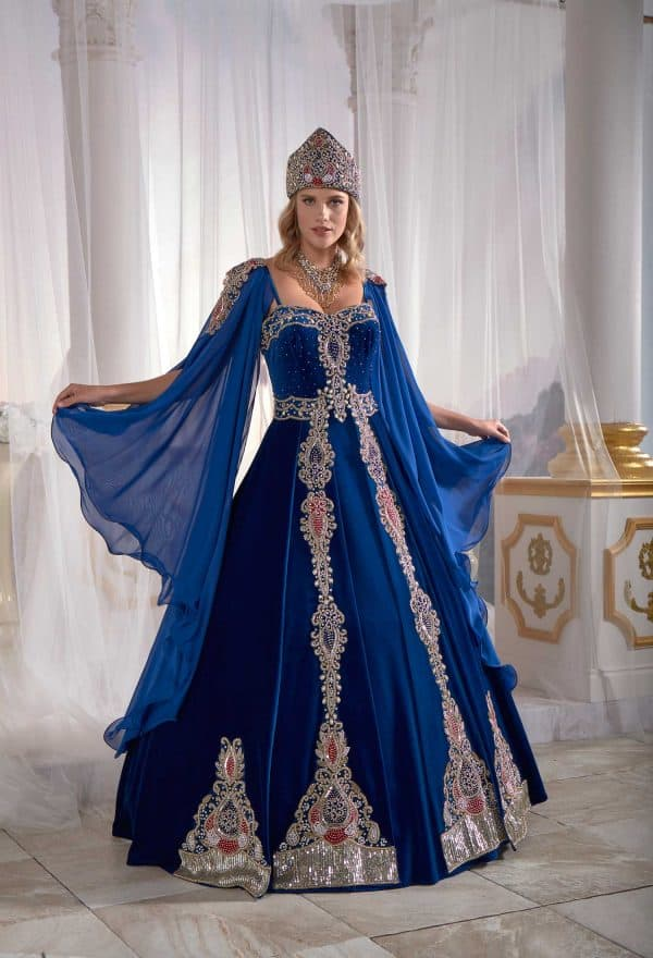 Dark Blue Panels Velvet Tulle Cape Cut Out Detail Ottoman Sultan Caftan Dresses 3 600x880 - Dark Green Panels Velvet Tulle Cape Cut Out Detail Ottoman Sultan Caftan Dresses