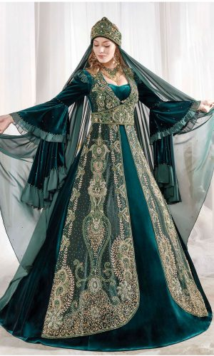 Dark Green Golden Embroidery Velvet Caftan Dress With cape back online shopping evening gown 300x500 - Home