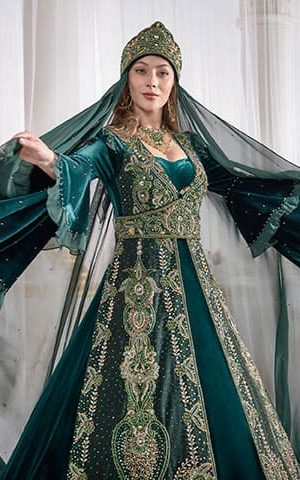 Dark Green Golden Embroidery Velvet Caftan Dress With cape back online shopping evening gown turkish kaftan muslim party dress 300x480 - Home