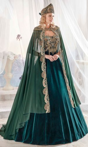 Dark Green Panels Velvet Tulle Cape Cut Out Detail Ottoman Sultan Caftan Dresses 300x500 - Home
