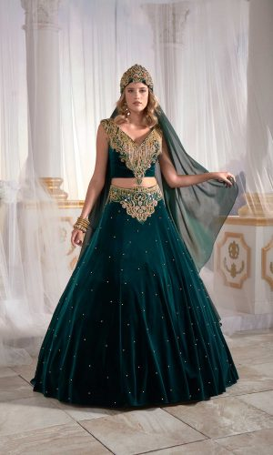 Dark green Golden embroidery kaftan dress online shop buy long evening dress 4 300x500 - Home
