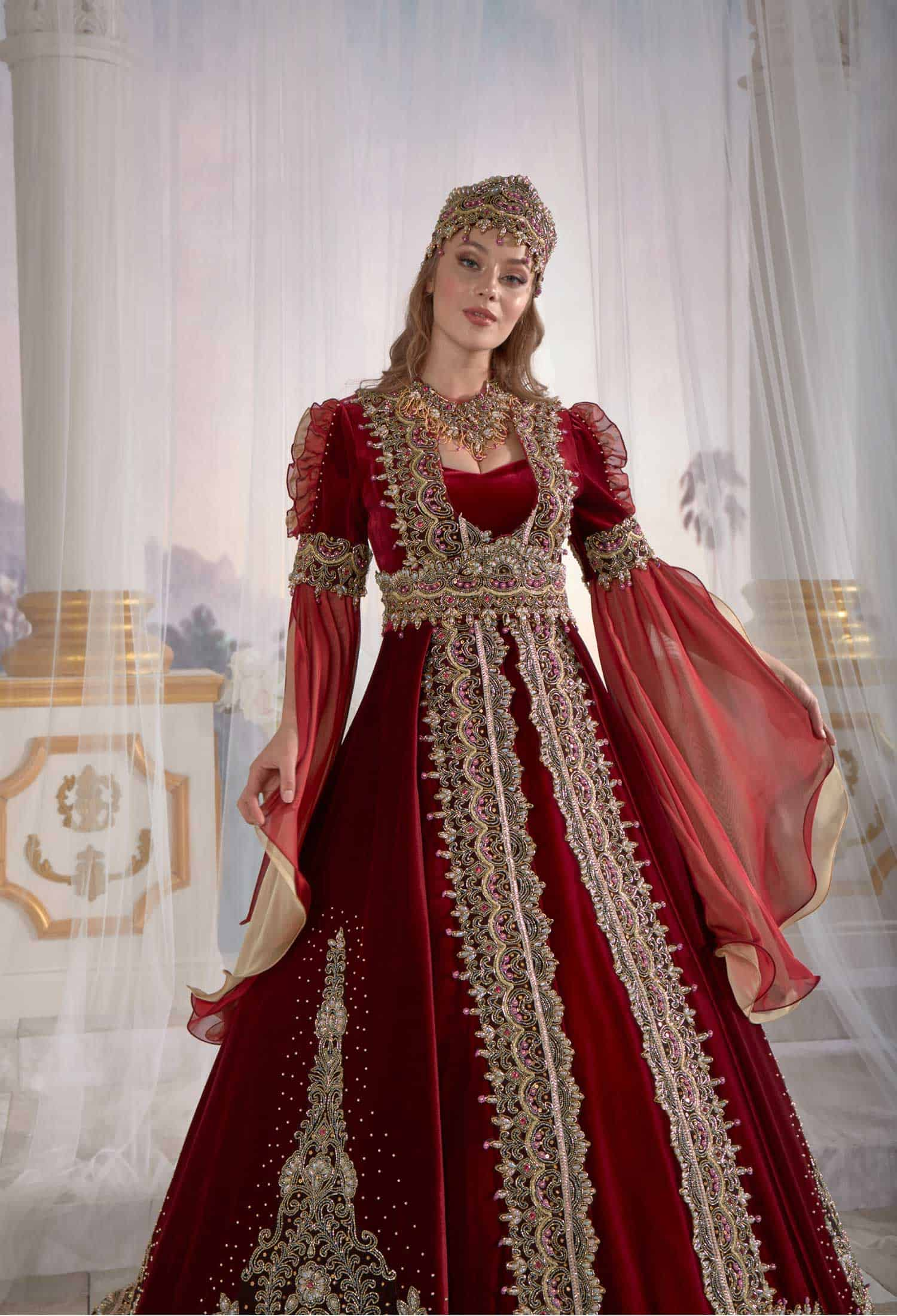 Dark Red Exclusive Luxury Gowns Dresses Tulle Sleeve Lace Appliques Needle Thread Embroidered Caftan Set Belt Detail