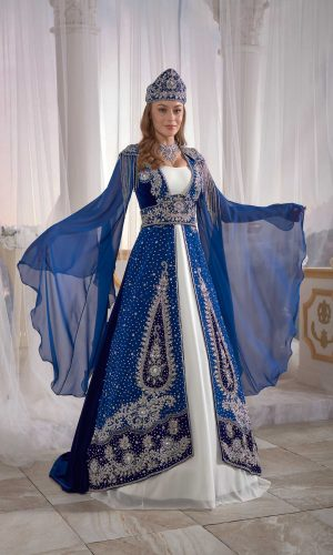 Luxury exclusive Blue Chic Caftan Set Velvet Delicate Sequins buy online evening dress shopping maxi dress online shopping ottoman caftan dress embellished top detail 300x500 - Home