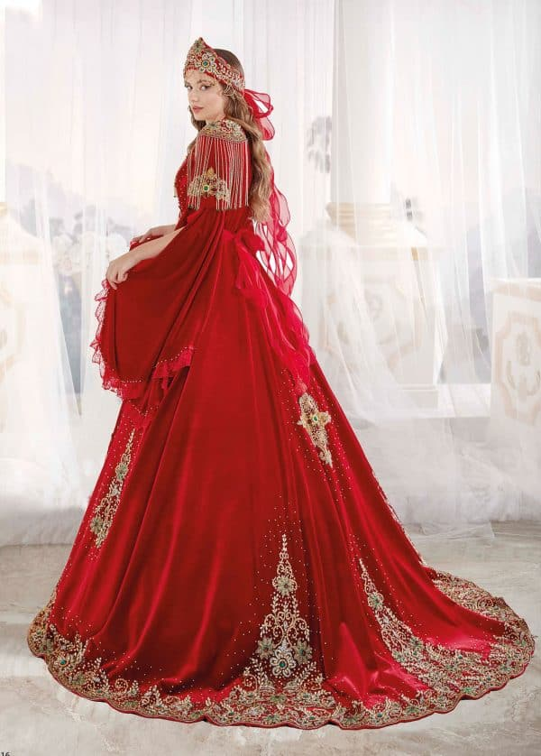 Luxury exclusive Chic Caftan Set Velvet Delicate Sequins buy online evening dress shopping maxi dress online shopping ottoman caftan dress 2 600x838 - Red Luxury Exclusive Crystal Gowns Dresses Golden Embroidery Handwork Sequins Lace Appliques