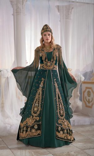 Luxury exclusive Chic Green Caftan Set Velvet Delicate Sequins buy online evening dress shopping maxi dress online shopping ottoman caftan dress embellished top detail 300x500 - Home