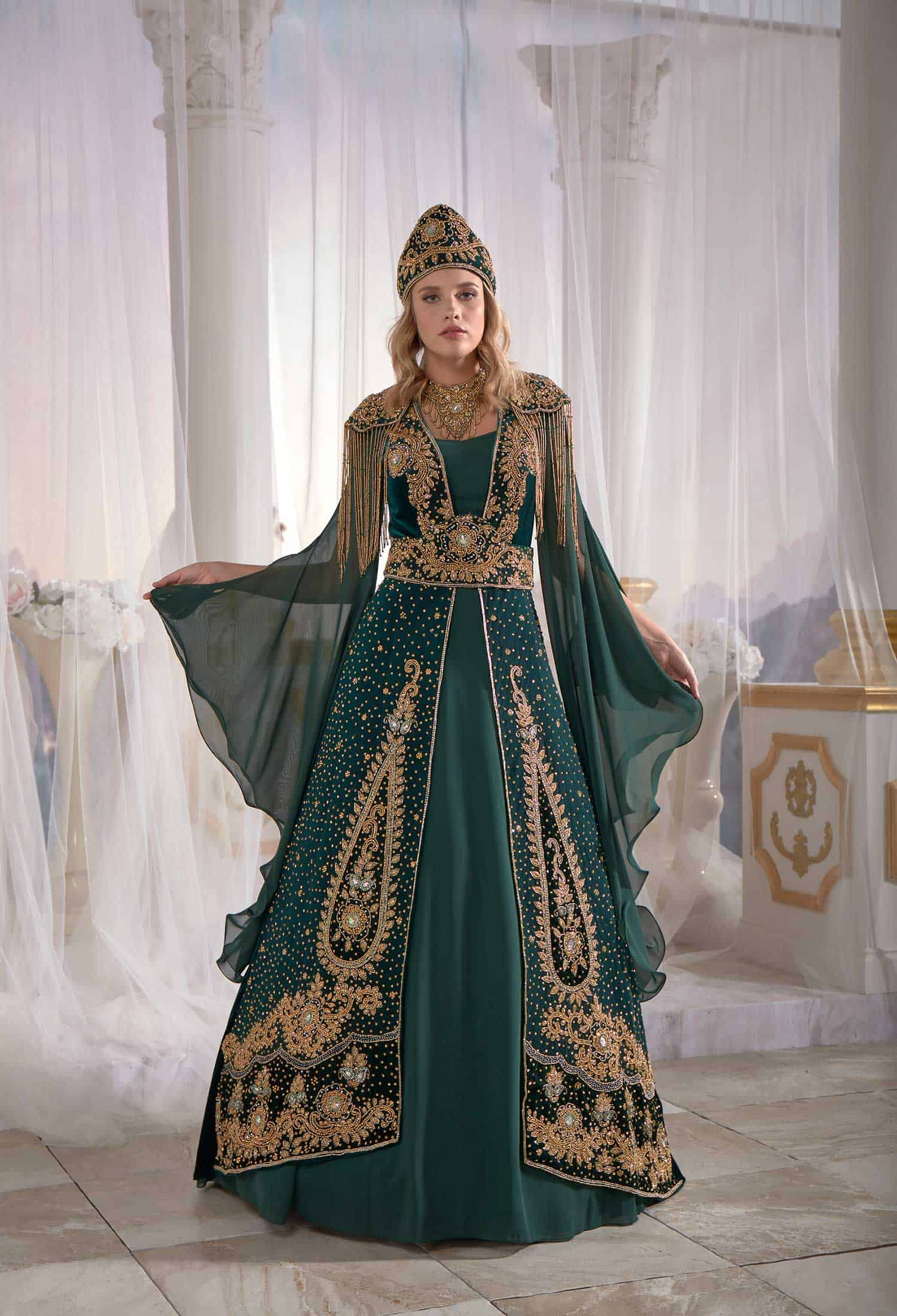 46048df852 Navy Blue Ethnic Embellished Top Detail Tulle Sleeve Ottoman Caftan ...