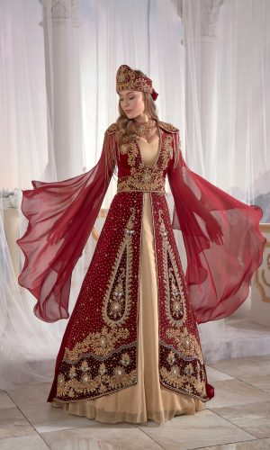 Luxury exclusive Chic Red Caftan Set Velvet Delicate Sequins buy online evening dress shopping maxi dress online shopping ottoman caftan dress embellished top detail 300x500 - Home