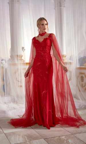 Prom dress boutiques Red Prom Dress Mermaid With Flutter Flower Tulle Cape Back Tall Soft 1 300x500 - Dresses