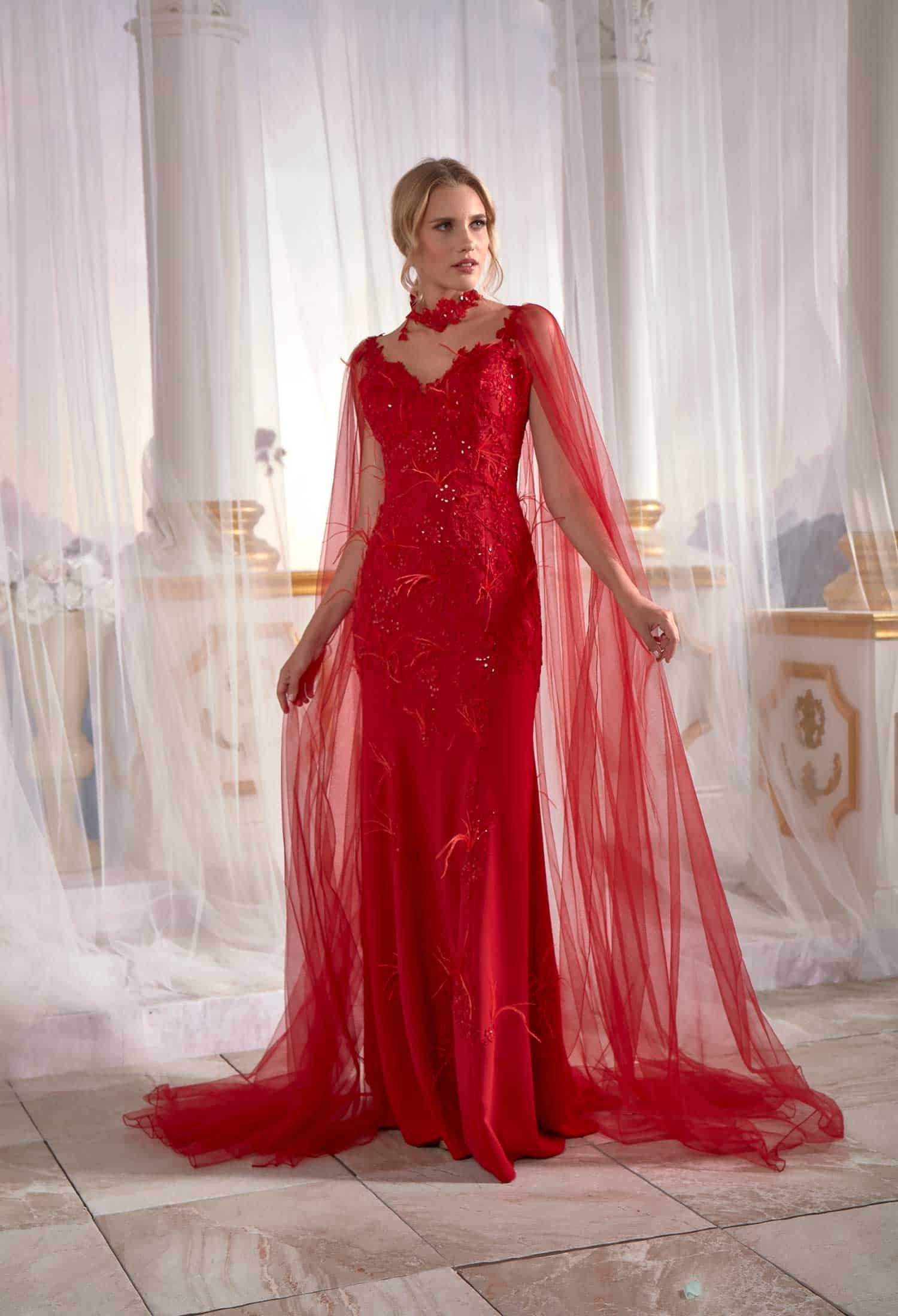 Red Prom Dress Mermaid With Flutter Flower Tulle Cape Back Tall Soft