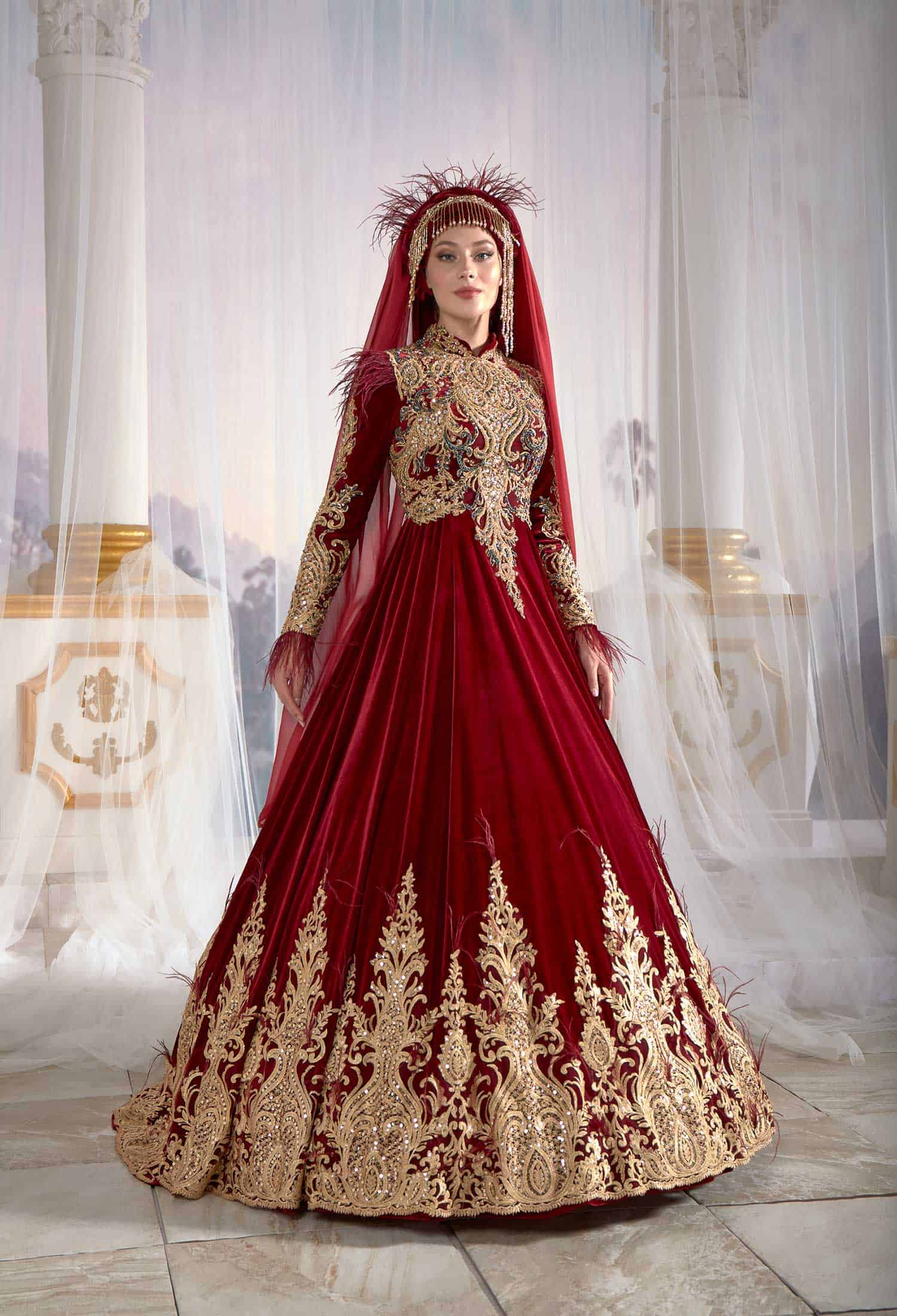 f0a9badf1a3ec Red Ottoman Turkish Caftan Golden Embroidery İslamic Party Wear Jijab  Clothing Long Evening Dress