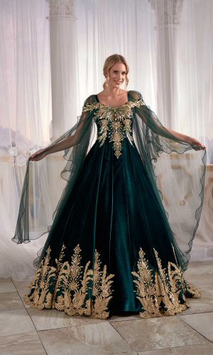 Velvet Dark Green Caftan Buy Online Evening Dress Luxury Golden embroidery 2 300x500 - Home
