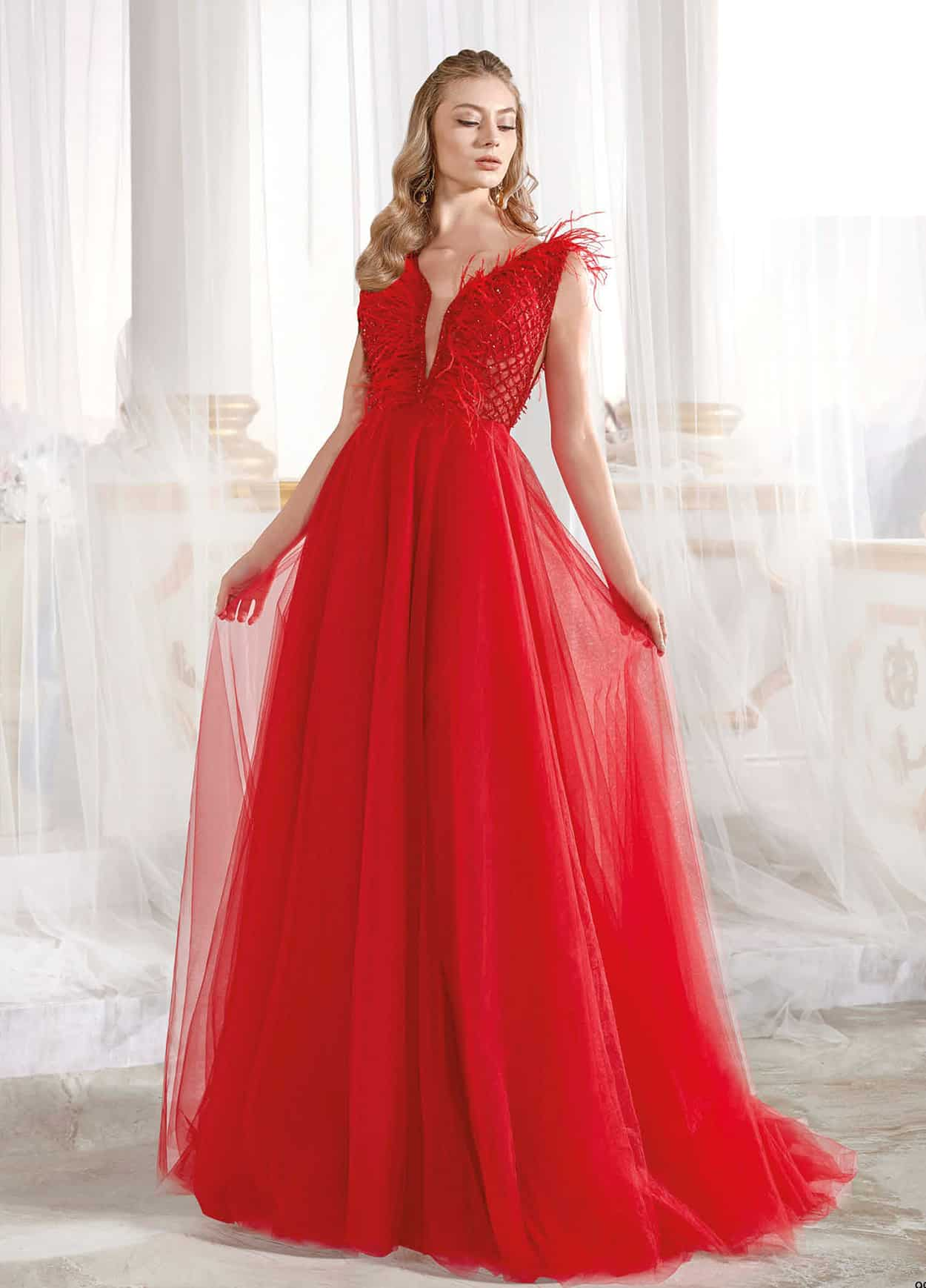 e1681f25bde Ligt Red Prom Dress V Embellished Neck And Top Detail Soft Drape Maxi Gown  ⋆ Sultan Dress Ottoman Caftan