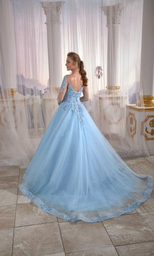 buy long evening dress İce Blue Tulle Engagement Dress Pleated Open Back Embellished Top Detail Cold Shoulder 3 300x500 - Home