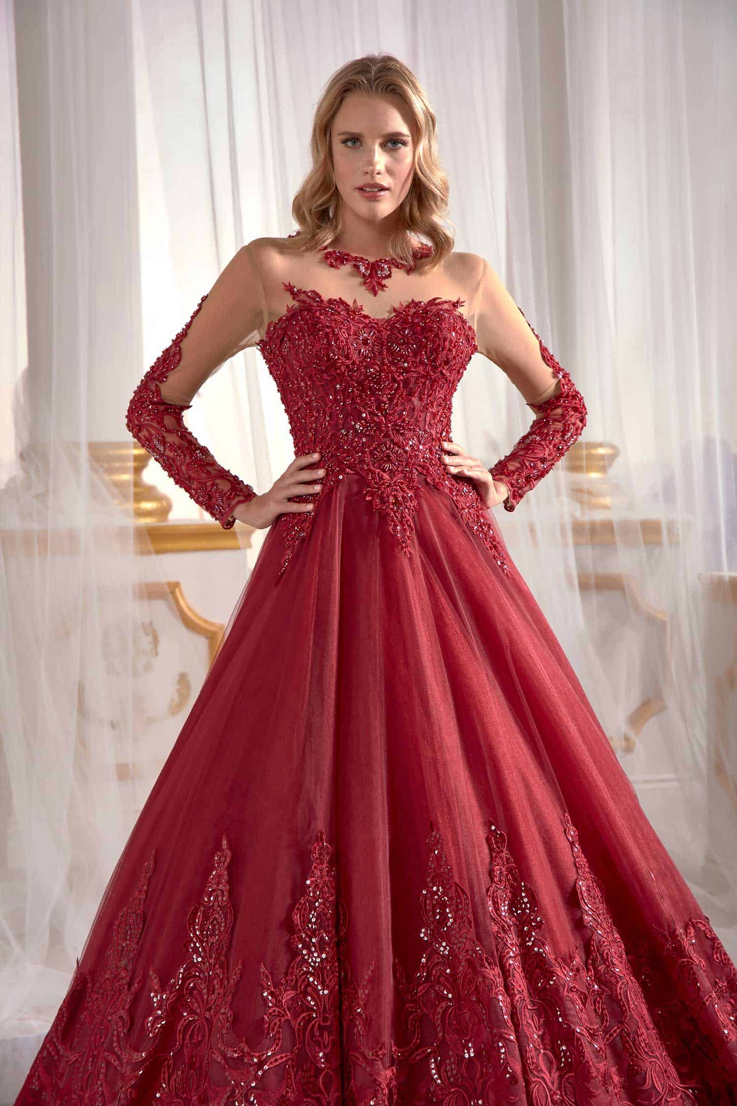 93a1a5a27c8 Red Prom Dress Cold Shoulder Guipure Lace Inserts Needle   Thread ...