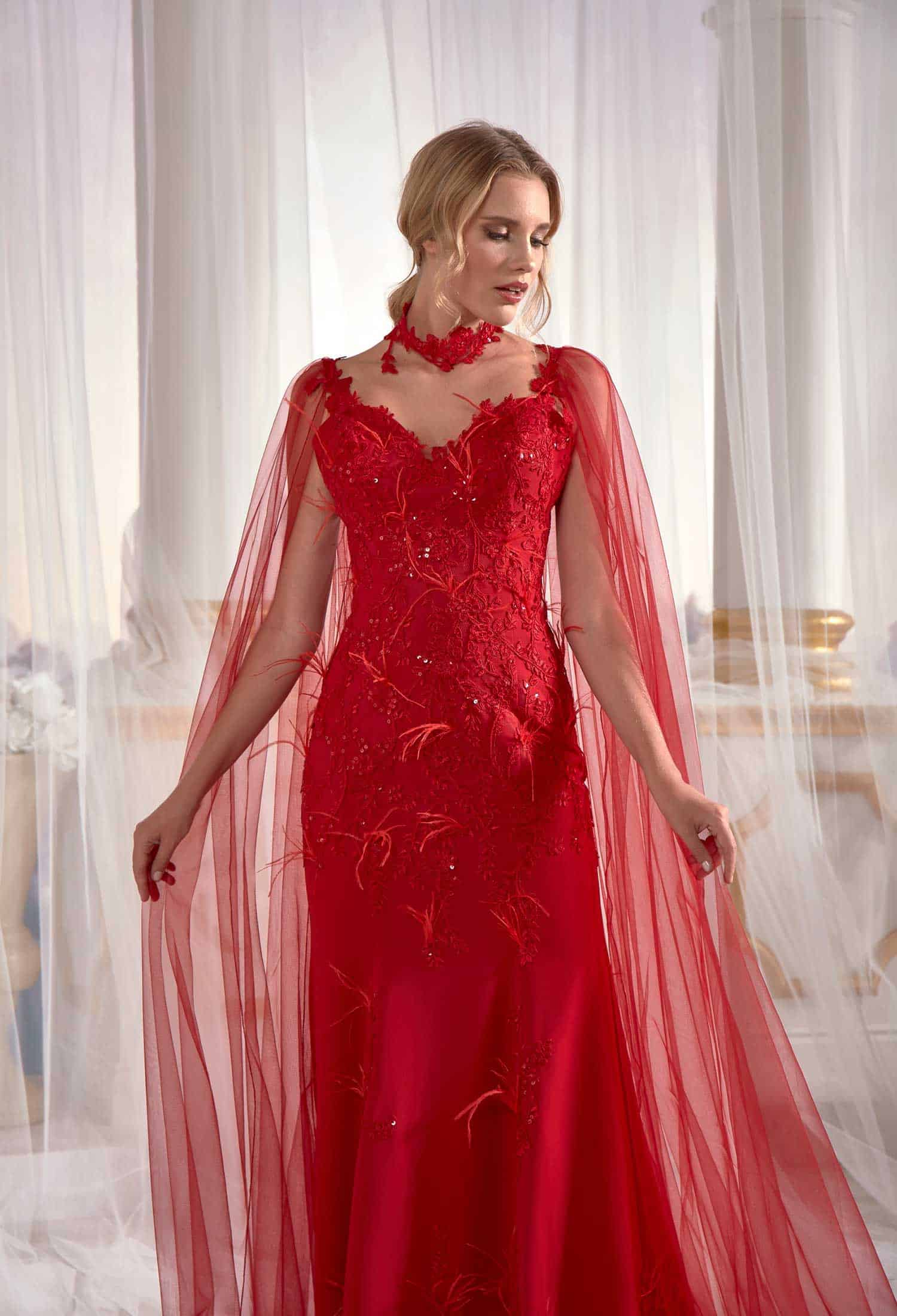 official images recognized brands enjoy lowest price Red Prom Dress Mermaid With Flutter Flower Tulle Cape Back Tall Soft