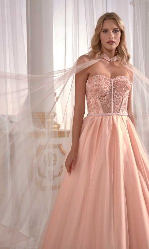 buy prom dresses online hot pink prom dress Pale Yellowish Satin Prom Dress Luxury Cold Shoulder Pleated Embellished With Tulle Cape Back 4 300x500 - Dresses