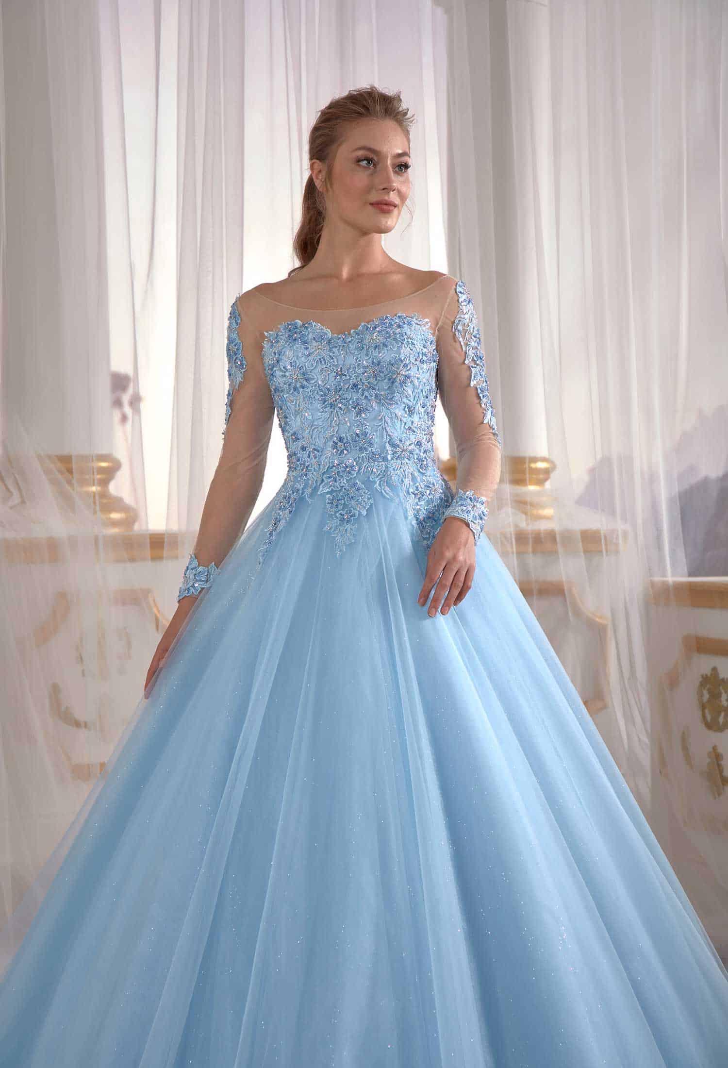 İce Blue Tulle Engagement Dress Pleated Open Back Embellished Top Detail  Cold Shoulder ⋆ Sultan Dress Ottoman Caftan