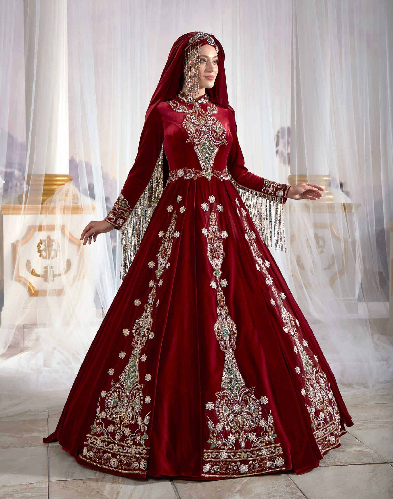 Maroon Modest Caftan Dress Hijab Clothing Long Sleeve Muslim Party Gown