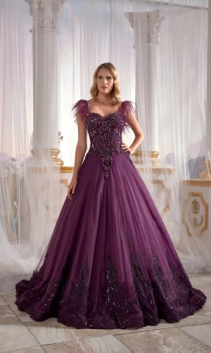 long gown dress online shopping Purple Tulle On Velvet Ball Gown Needle Thread Embroidered Exclusive Dress 2 300x500 - Dresses