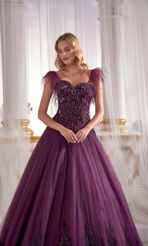 long gown dress online shopping Purple Tulle On Velvet Ball Gown Needle Thread Embroidered Exclusive Dress 3 300x500 - Dresses