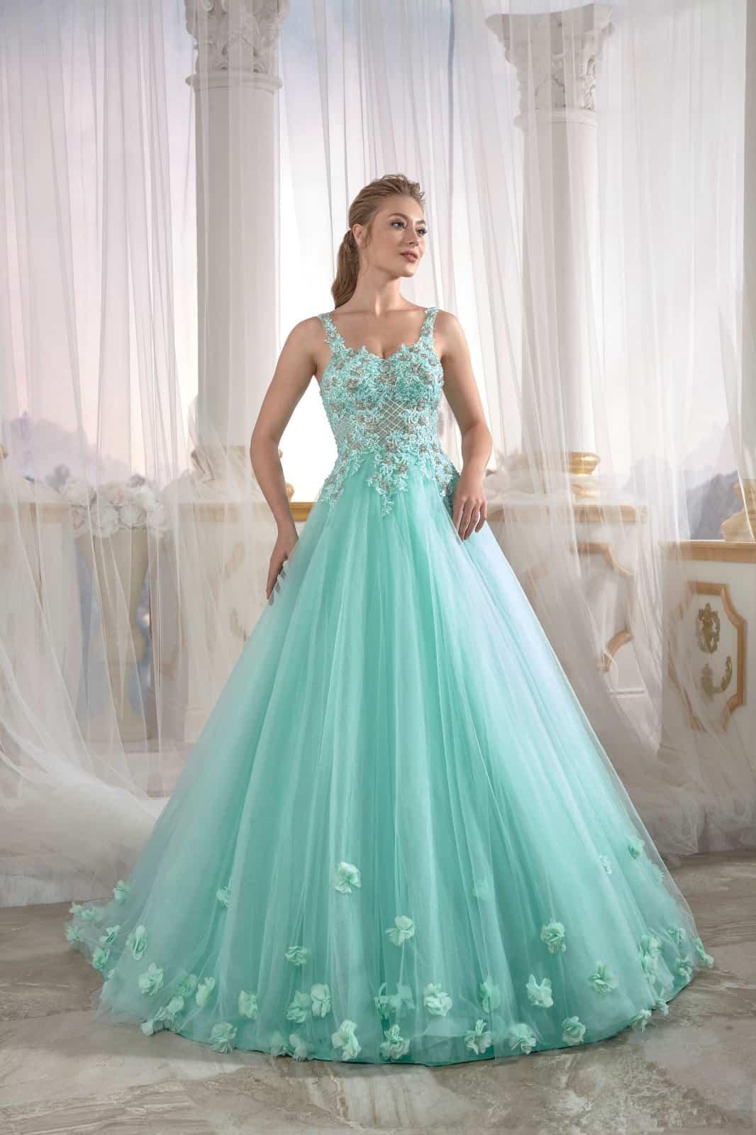 Eau De Nil Tulle Engagement Dress Pleated Open Back Embellished Top Detail  Cold Shoulder