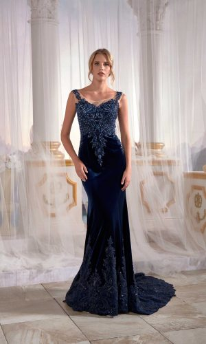 maxi gowns online Navy Blue Mermaid Maxi Prom Dress Velvet Open Back Needle Thread Embroidered 1 300x500 - Dresses