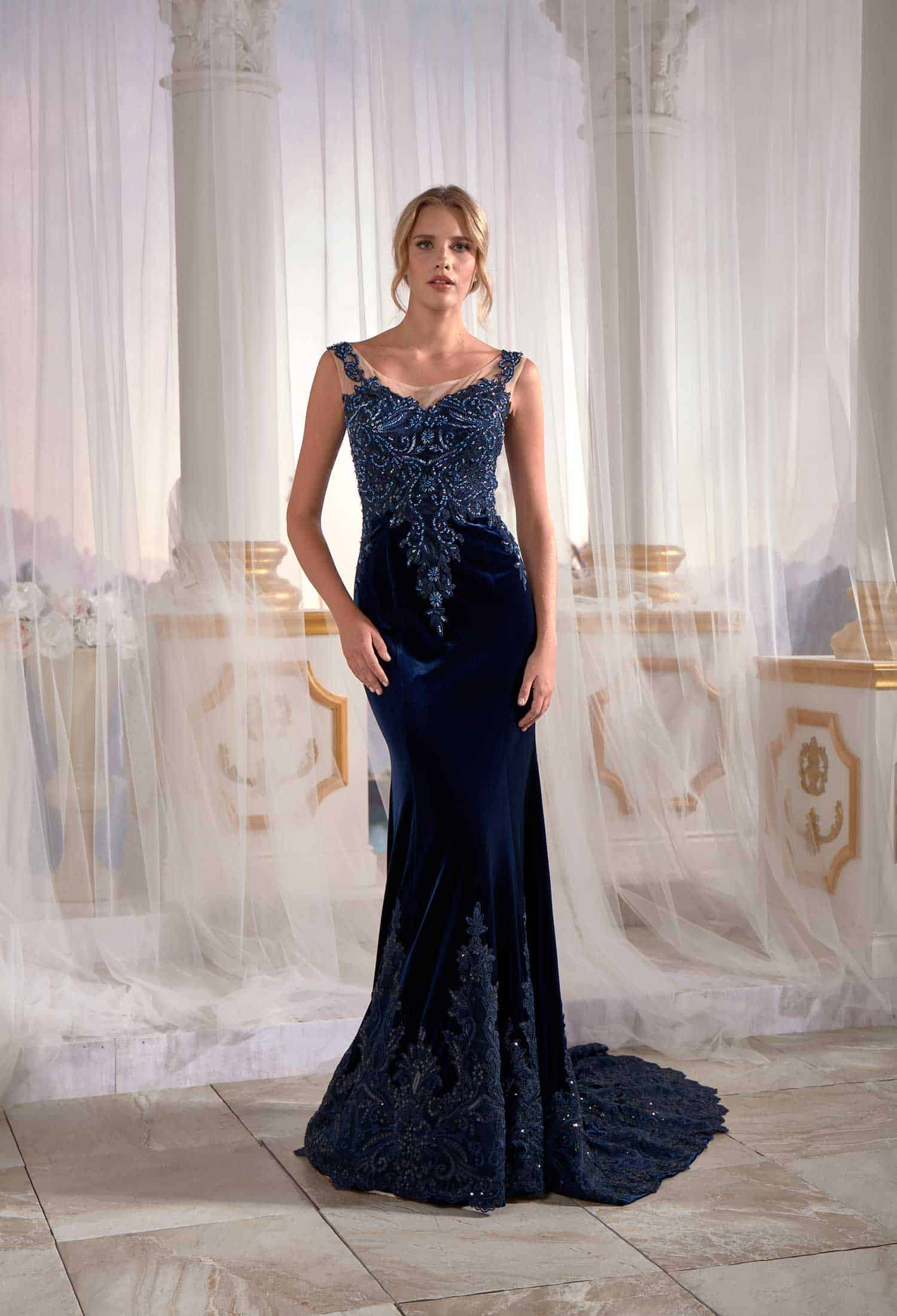 d443f47f0af Navy Blue Mermaid Maxi Prom Dress Velvet Open Back Needle   Thread ...