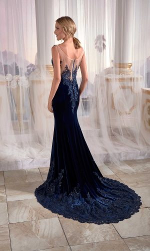 night dresses online Navy Blue Mermaid Maxi Prom Dress Velvet Open Back Needle Thread Embroidered 3 300x500 - Dresses