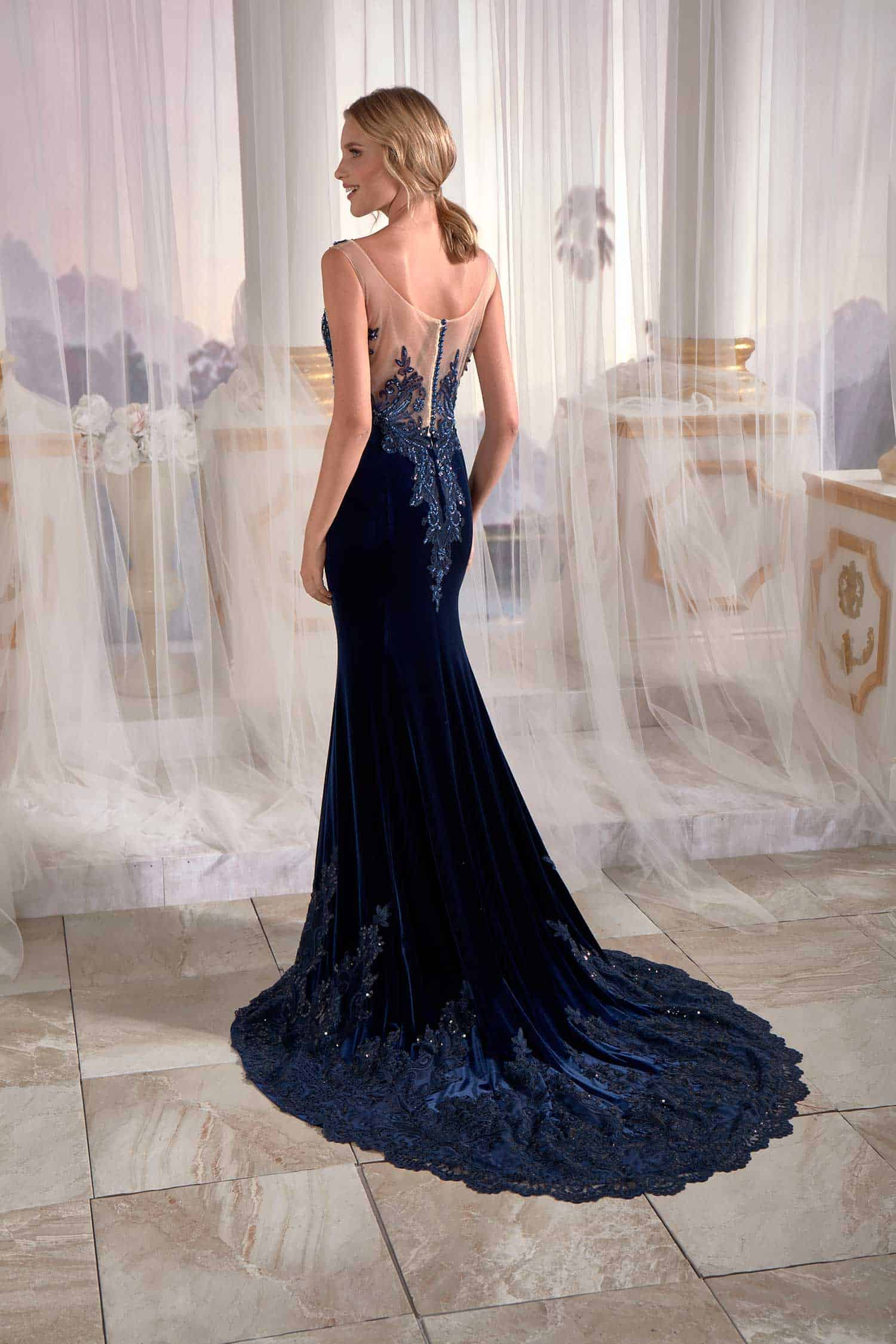 good quality 2018 sneakers 100% quality quarantee Navy Blue Mermaid Maxi Prom Dress Velvet Open Back Needle & Thread  Embroidered