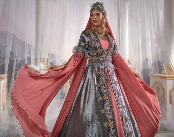 ottoman caftan party dress ethnic clothing stores online 3 600x473 - Fuchsia  Bright Gray V neck Embellished Seam Detail Prom Dress Caftan