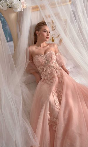 party dresses online Pale Yellowish Pink Evening Dress Tulle on Pearl Applique Needle Thread embroidered Cold Shoulder 3 300x500 - Dresses