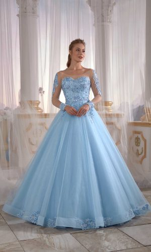 prom dresses online İce Blue Tulle Engagement Dress Pleated Open Back Embellished Top Detail Cold Shoulder 1 300x500 - Home