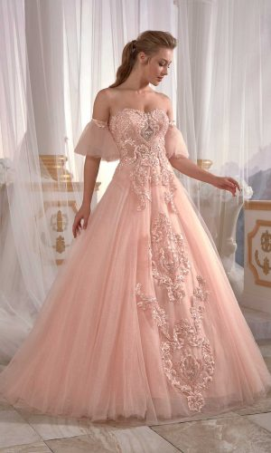 prom dresses online Pale Yellowish Pink Evening Dress Tulle on Pearl Applique Needle Thread embroidered Cold Shoulder 2 300x500 - Dresses